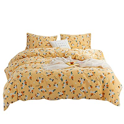FenDie Duvet Cover Yellow Queen Bedding Set Floral Girl Comforter Cover 3 Piece Spring Duvet Cover Set Fresh Style Plant Flowers Duvet Cover Queen Women Bed, Yellow: Home & Kitchen