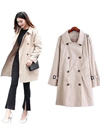 6cb0f2c43 Amazon.com: Reedbler Korean Women Trench Coat Double Breasted Loose ...