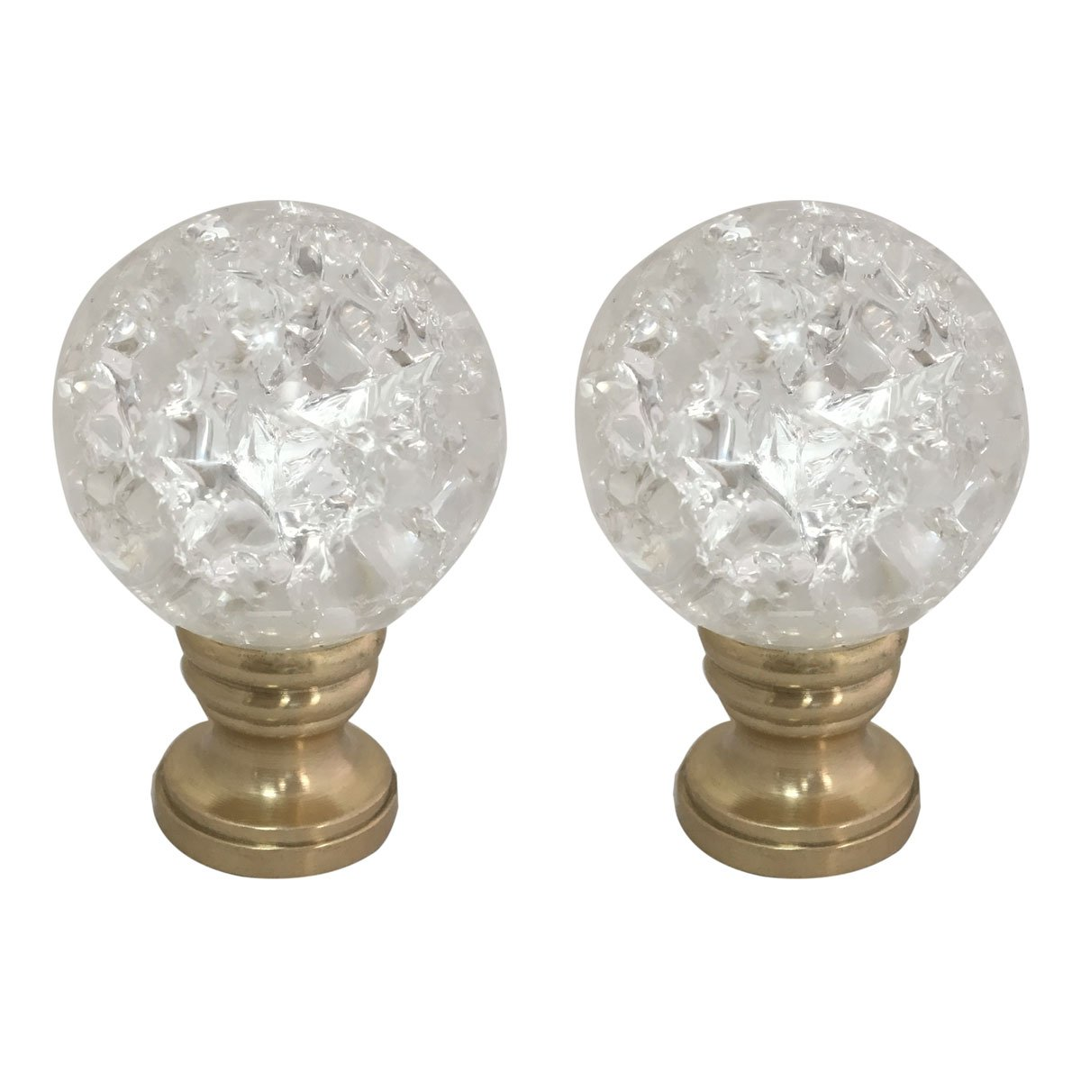 Royal Designs Small Clear Ball with Crackle Texture K9 Crystal Lamp Finial with Polished Brass Base - Set of 2