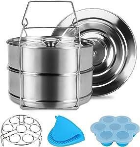 StackableSteamer StainlessSteelSteamer Cookware Set with Sling, CookEssentials InstantPot PressureCookerAccessories, DoubleTiered FoodSteamer for Baking, Casseroles, Make Cooking Easy