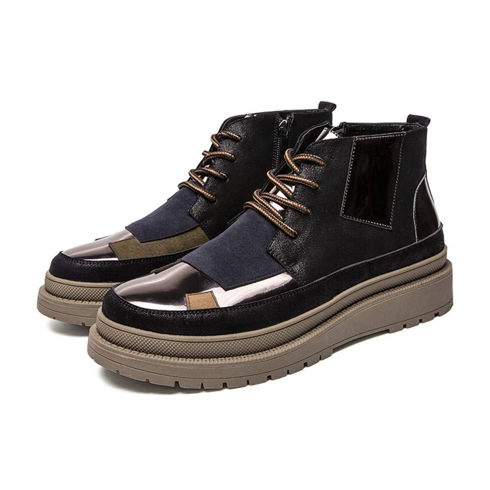 YAJIE-Stiefel, Männer Casual Persönlichkeit Nähte Komfortable Runde Zehe Seitlichem Reißverschluss Freizeit Schuhe Mode Stiefel (Farbe   Blau Silber, Größe   45 EU)