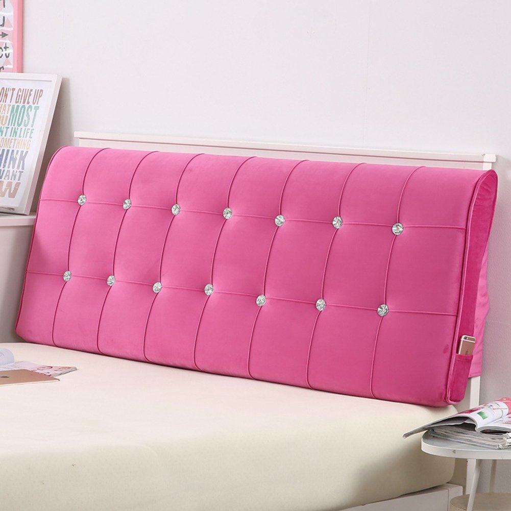 Vercart Sofa Bed Large Upholstered Headboard Filled Triangular Wedge Cushion Bed Backrest Positioning Support Pillow Reading Pillow Office Lumbar Pad with Removable Cover Fushcia 47x4x24 Inches