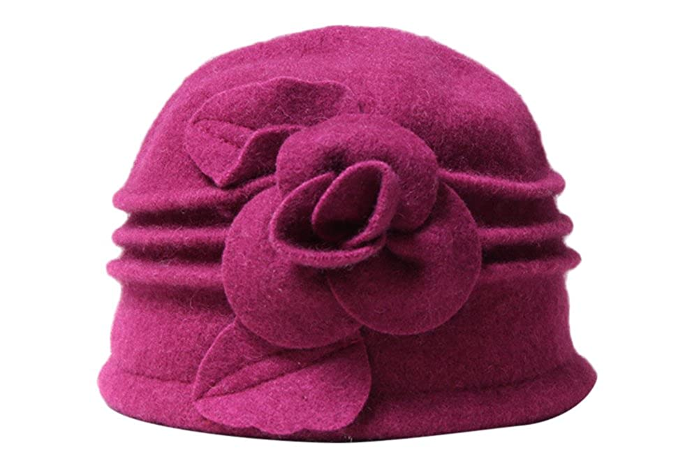 58715b391aa05 Ealafee Women 100 % Wool Solid Color Round Top Cloche Beret Cap Flower  Fedora Hat