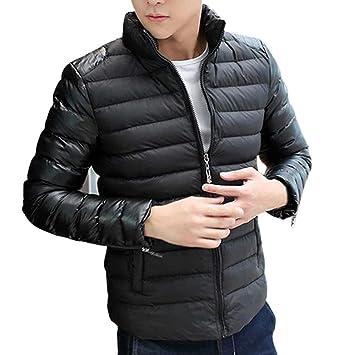 ZHRUI Abrigos para Hombre, Mangas de Cuero de Ocio para Hombres Cuello de pie Chaqueta Engrosada Chaqueta de algodón Abrigo (Color : Negro, tamaño : SG): ...
