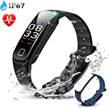AGPTEK Color Screen Fitness Tracker, Smart Wristband with Sport Band Heart Rate Sleep Monitor Blood Pressure Pedometer Calorie Counter Notifications for iOS Android Smartphones, Black