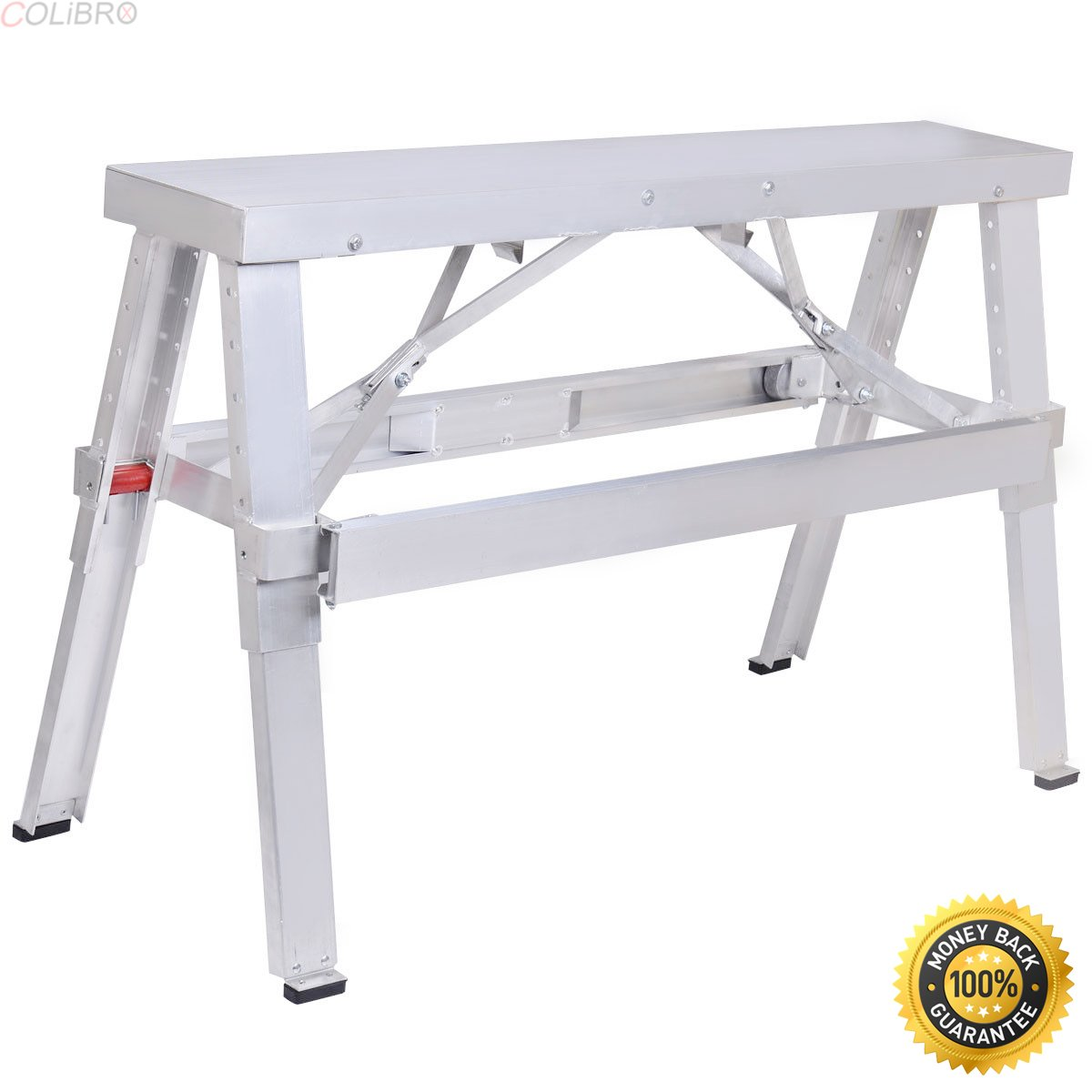COLIBROX--New Aluminum Heavy Duty Drywall Walk-Up Adjustable 18''-30'' Folding Bench,Workbenches ,mainstays folding bench,foldable bench seat,folding bench workout