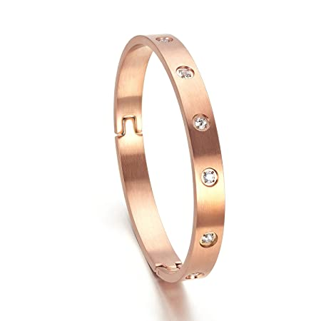 XIUDA CZ Stainless Steel Polished Bangle Bracelet for Women & Men Rose Gold Plated BTYT2