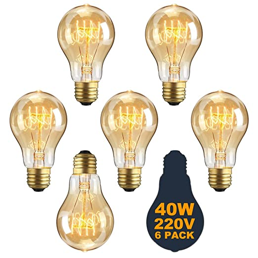 Vintage E27 Edison Screw Bulb 40w Dimmable A19 Antique Filament Tungsten  Loop Style 23 Anchors Incandescent