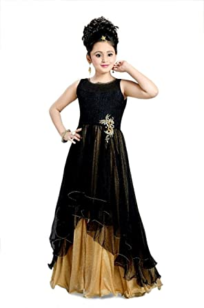 Xomantic Fashion Designer Black Party Wear Gown Dress For Girls