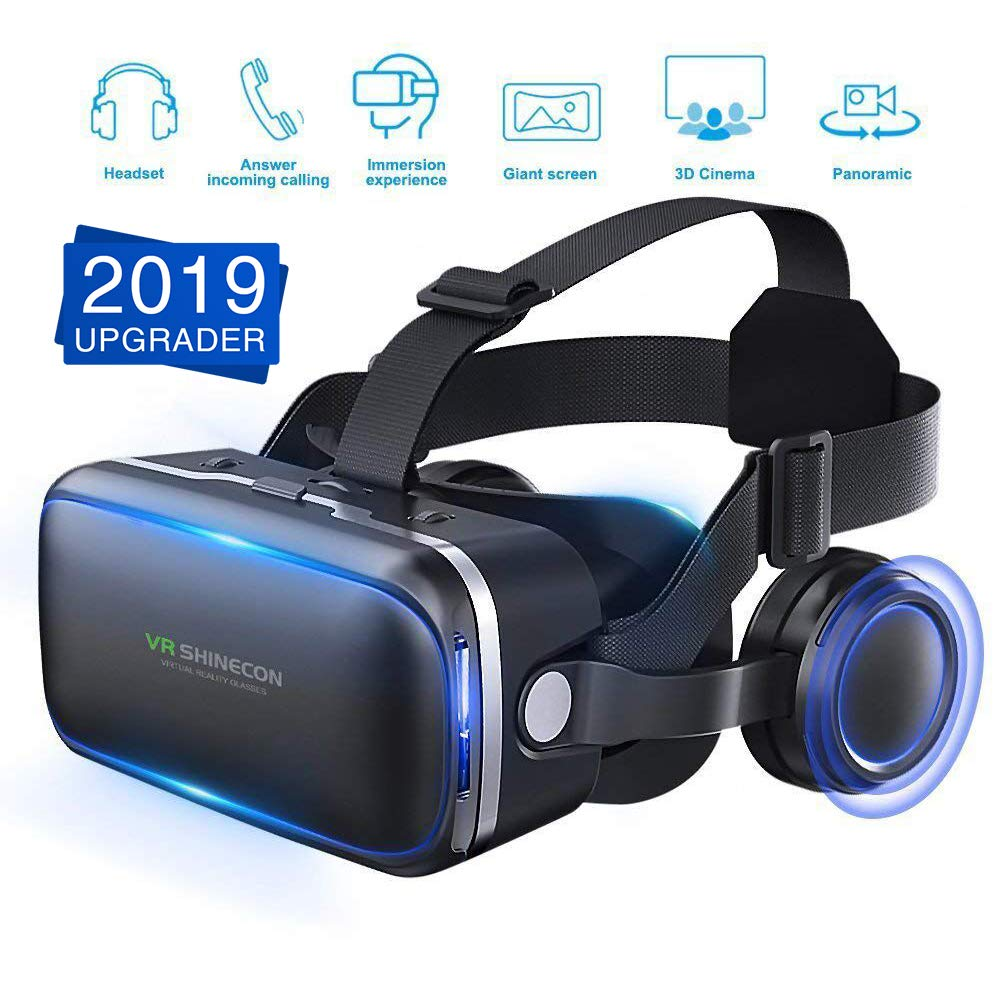 [ 2019 New Version ] WorldSeng VR Headset,VR Headset with Stereo Headphone,3D Glasses Virtual Reality Glasses for VR Games & 3D Movies,3D VR, Cardboard For iPhone and Android Smartphones