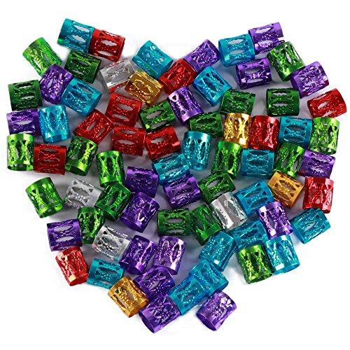 Fani 120 Pieces Mixed Multi Colors Aluminum Dread Locks Adjustable Metal Cuffs Dreadlocks Beads Braiding Hair Decorations