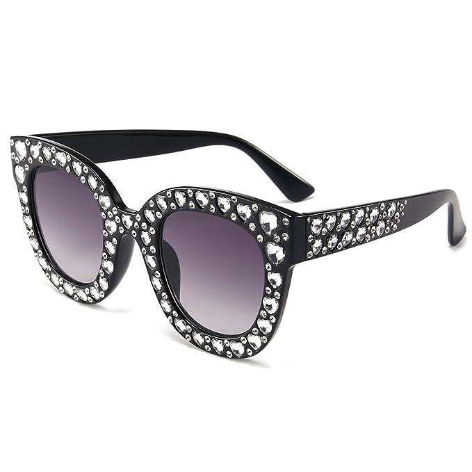 Amazon.com: Para mujer Rhinestone de gran tamaño anteojos de ...