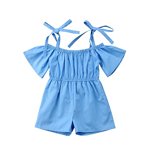 27d8fd8f680 Amazon.com  Toddler Kids Baby Girl Off Shoulder Strappy Rompers Jumpsuits  Playsuit Summer Ruffles Tube Tops Shorts Pants  Clothing
