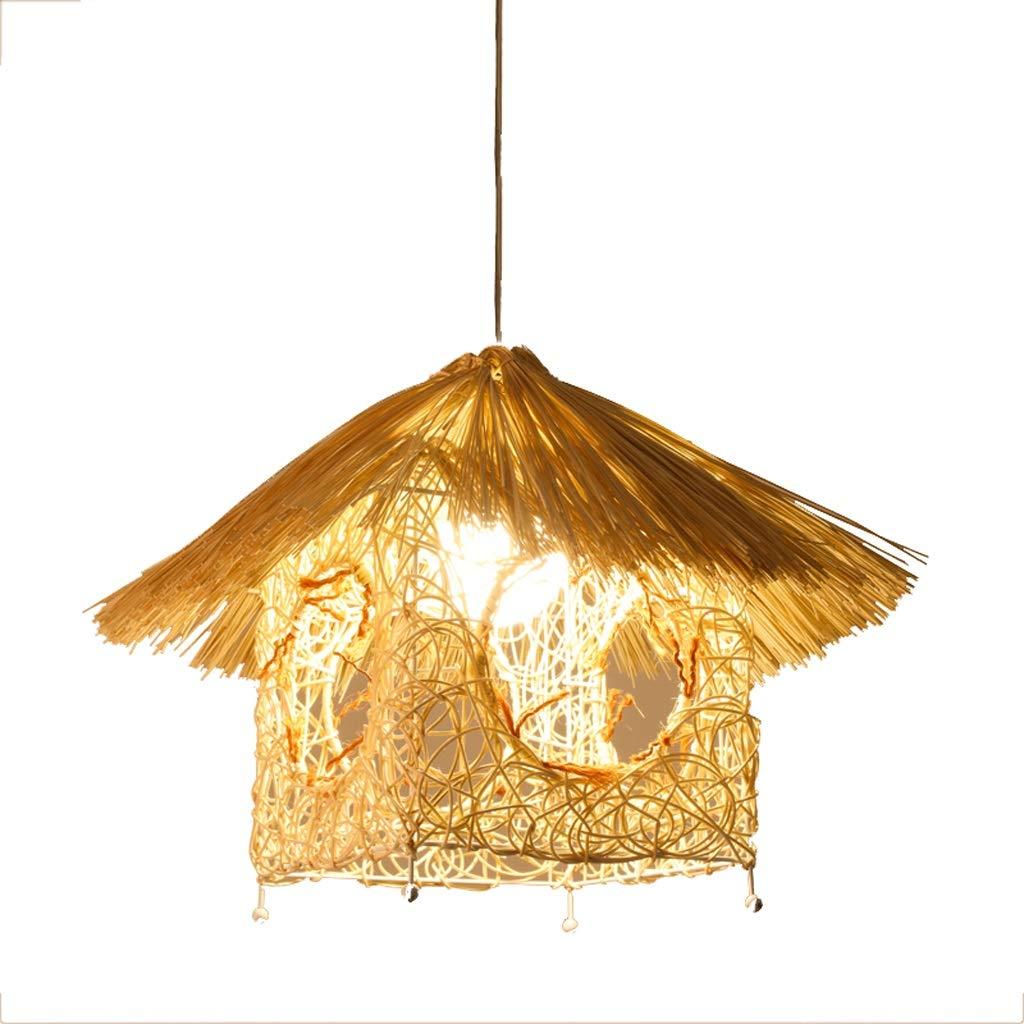 Southeast Asian Style Lanterns Creative Personality Restaurant Light, Retro Bamboo Rattan Lamp Chandelier Birdcage Chandelier (Color : B)