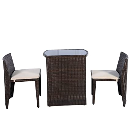 Amazon.com : NEW 3 PCS Brown Cushioned Outdoor Wicker Patio ...