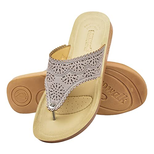 b9e20eabe AEROWALK Womens Sandals Casual use - Colour Grey and Brown PU Sole -  Stylish Ladies Slippers