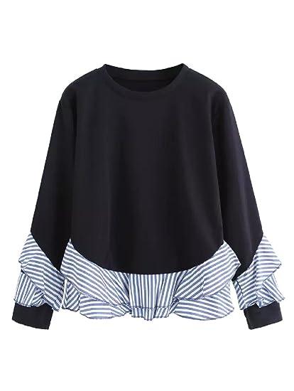 cb0ebff7aa8 Women s Sweatshirt Drop Shoulder Striped Ruffle Trim at Amazon ...