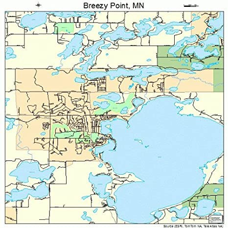 Amazon.com: Large Street & Road Map of Breezy Point, Minnesota MN ...