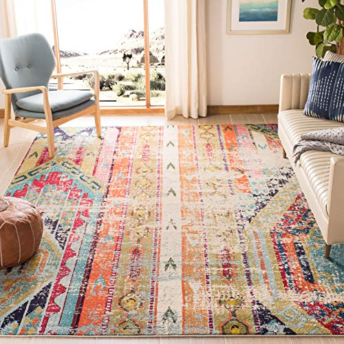 Safavieh Monaco Collection MNC222F Modern Bohemian Distressed Area Rug, 5'1' x 7'7', Multicolored