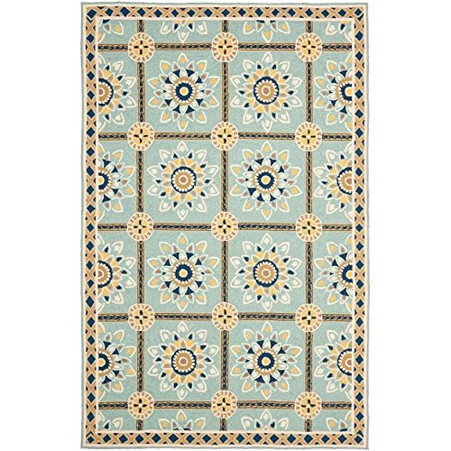 Hand Hooked Blue Rug (Safavieh Easy to Care Collection EZC711B Hand-Hooked Light Blue and Dark Blue Area Rug (2' x 3'))