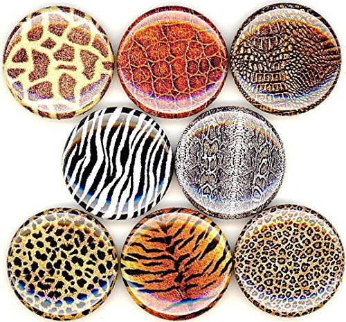 ANIMAL PRINT 8 NEW 1 Inch (25mm) Set of 8 Pinback Buttons Badges Pins