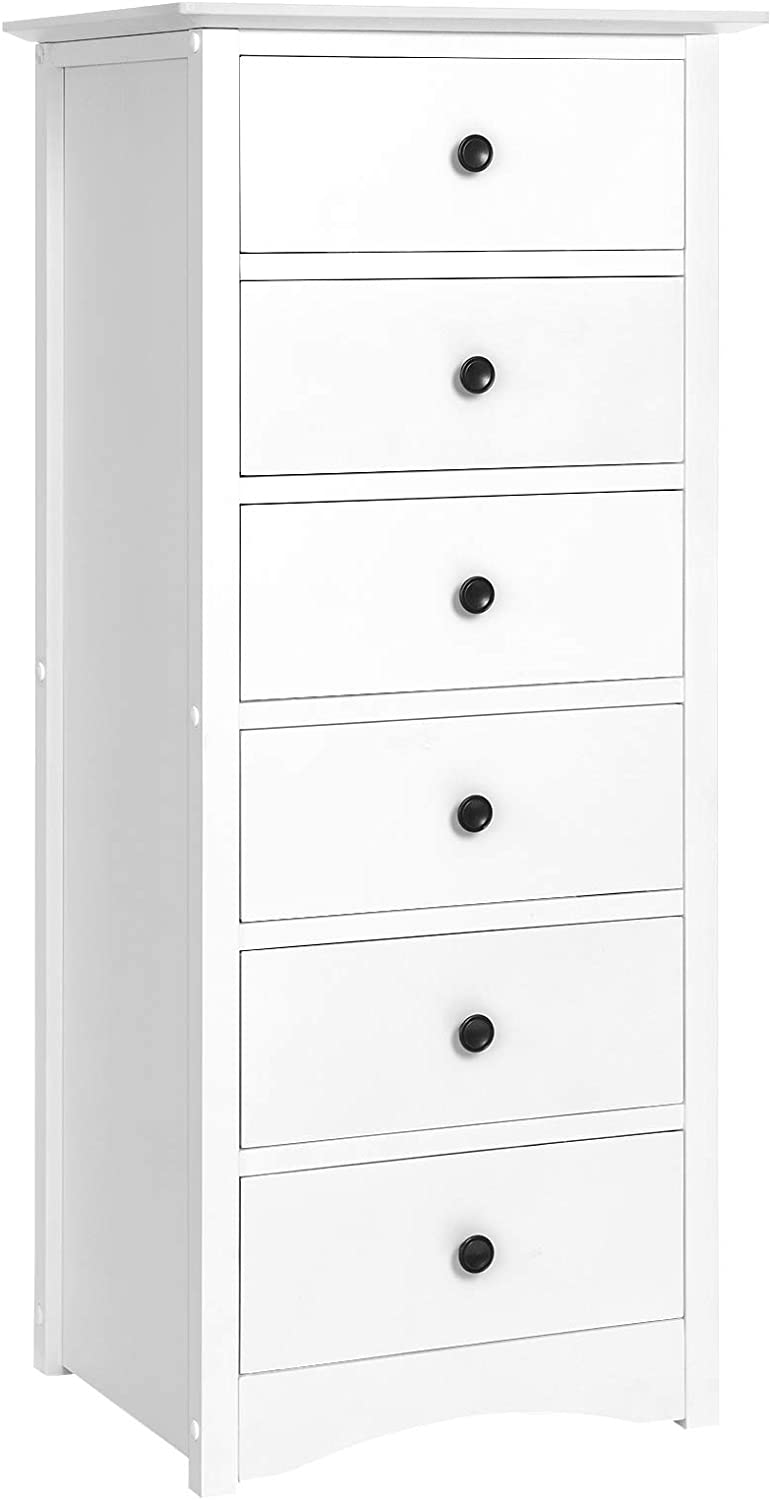 VASAGLE Narrow Chest of Drawers, Classic Tall Dresser with 6 Drawers, Solid Wood Frame, Storage Unit for Bedroom, Living Room, with Antique-Style Handles, Easy Installation, White URCD06WT