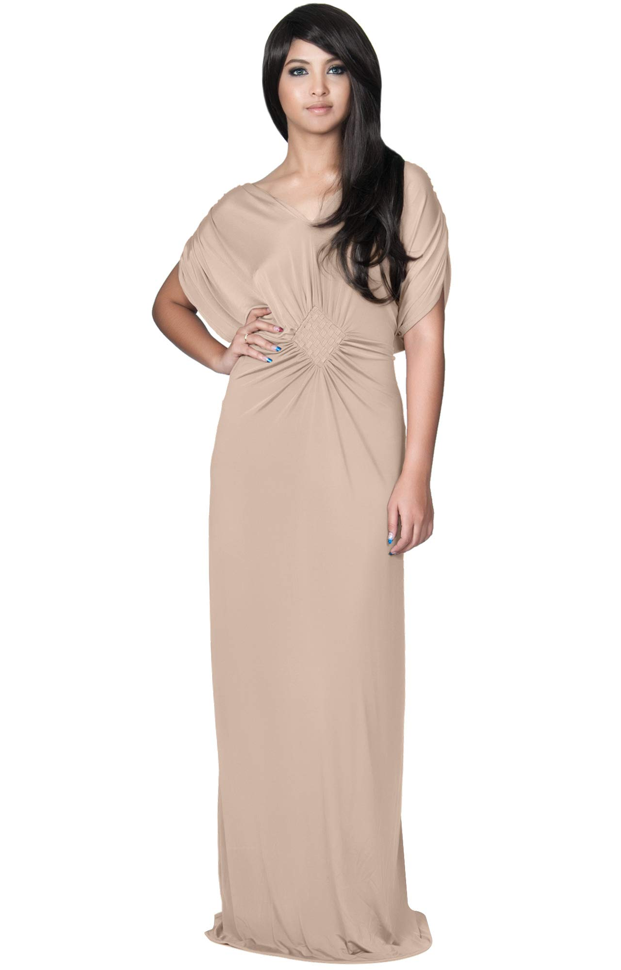 KOH KOH Womens Long Short Sleeve Grecian Goddess Evening Modest Bridesmaid  Formal Sexy Wedding Party Guest Flowy Cute Maternity Gown Gowns Maxi Dress  ... 57341ba8f
