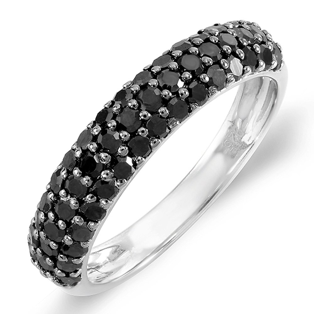 1.00 Carat (ctw) Sterling Silver Black Round Diamond Ladies Wedding Anniversary Band Stackable Ring 1 CT (Size 9)