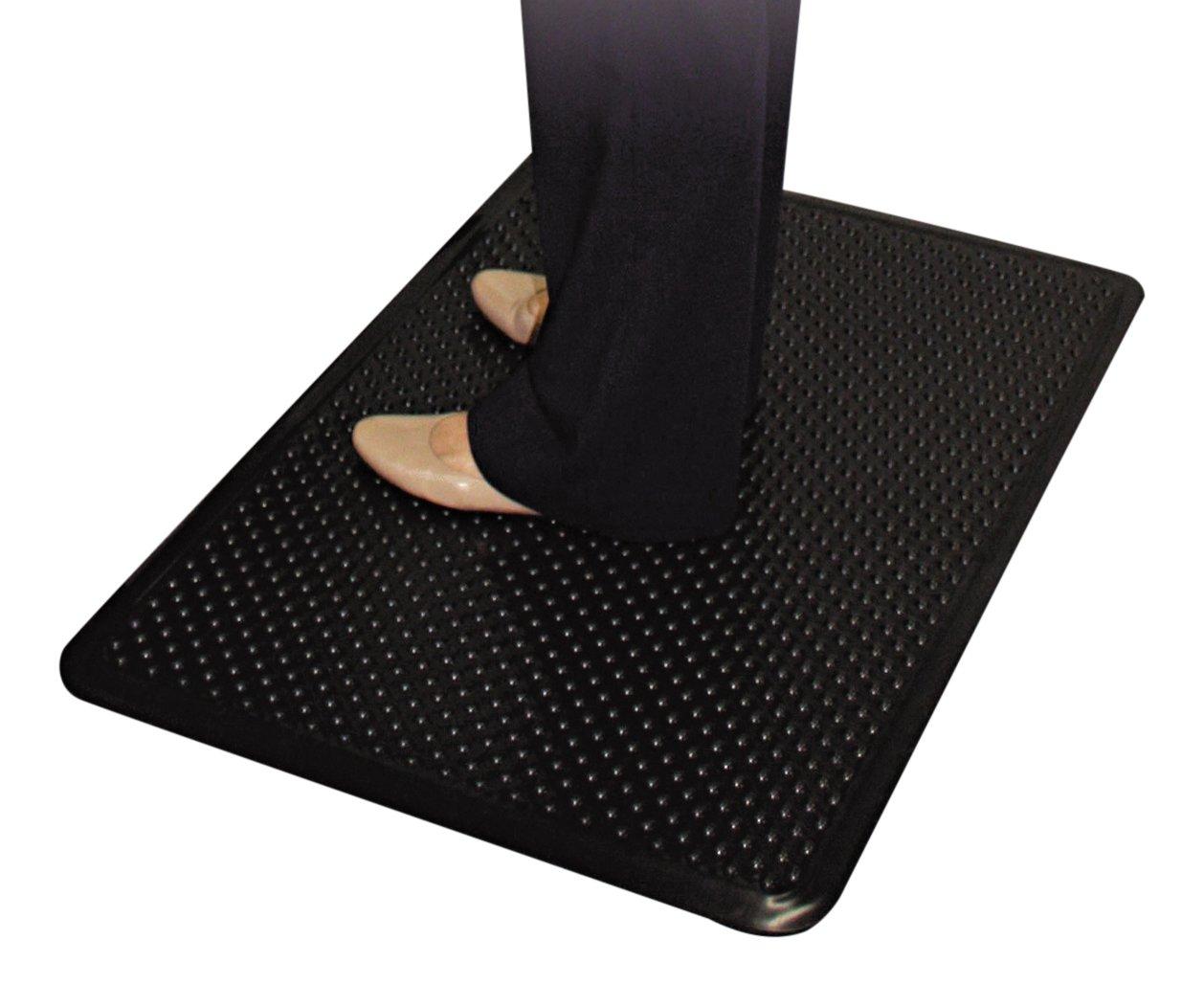 ES Robbins Feel Good Anti-Fatigue Vinyl Mat, 2-Feet by 3-Feet 3/8-Inch, Black 184552