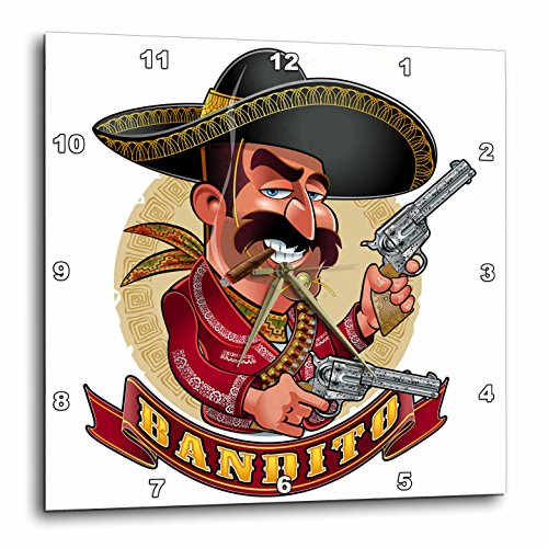 3dRose Carsten Reisinger - Illustrations - Cool Bandito Mexican Guy with Big Guns Smiling - 13x13 Wall Clock (dpp_282679_2) by 3dRose