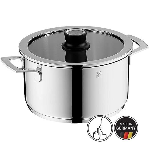 WMF 779246380 Vario Cuisine-Olla Alta con Tapa y termómetro Integrado 24 cm, Cromargan, acero inoxidable