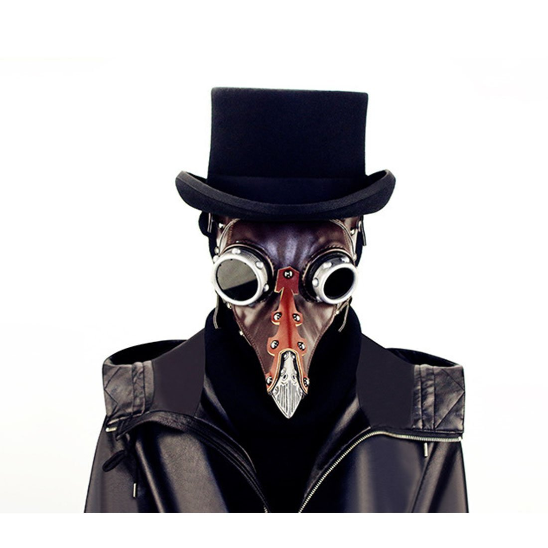 Hungrybubble Leder Steampunk Full Face Face Face Pest Arzt Vogel Maske Long & Short Nase Schnabel Faux Cosplay Halloween Weihnachten Kostüm Requisiten (Farbe : Style1) 30ad51