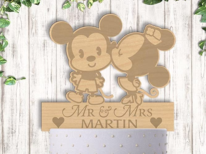 Amazon.com: Mickey and Minnie With Last Name Wood Engraved Wedding ...