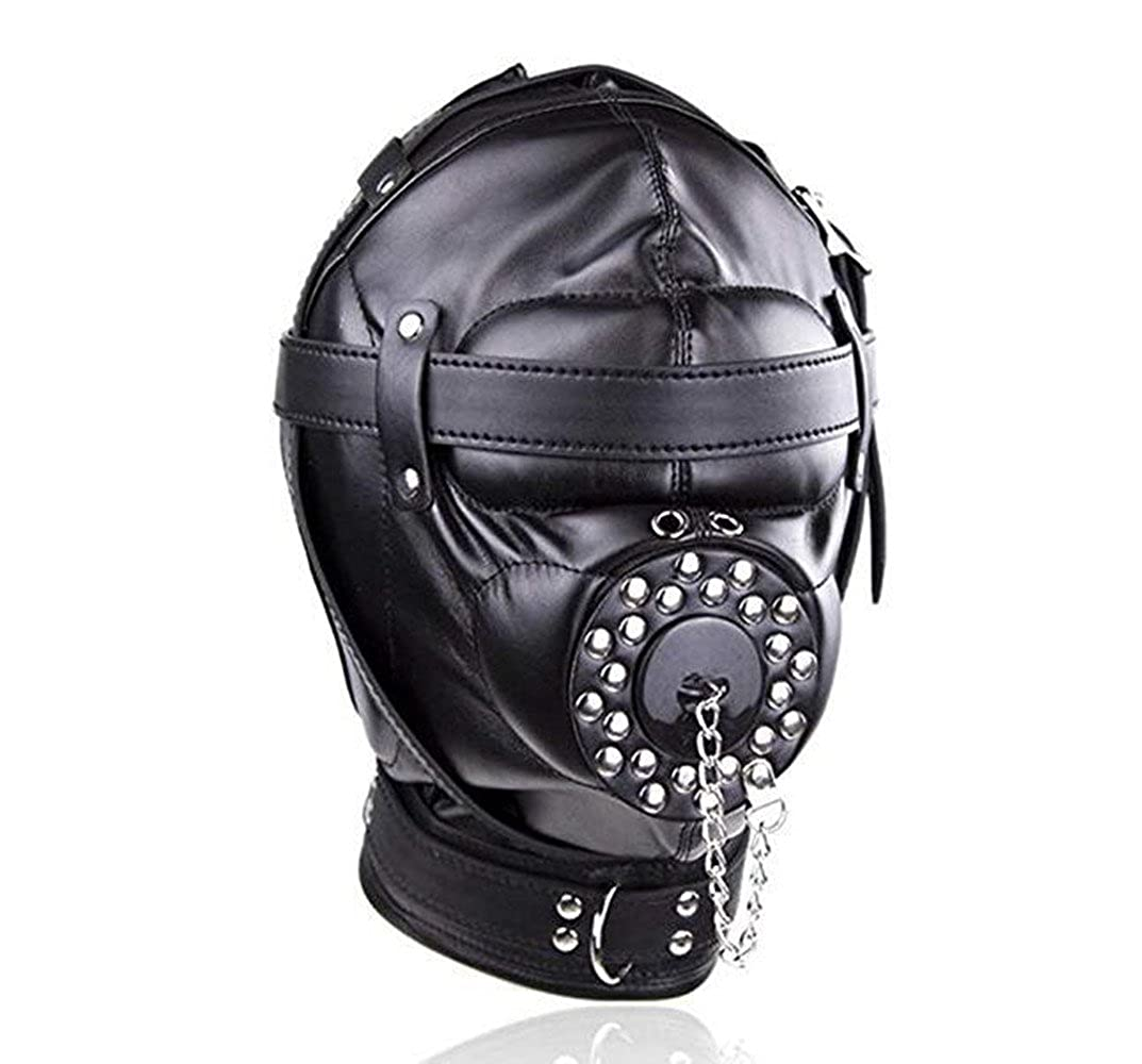 Jiuhexu Black Leather Costume Mask Hood All Colsed with Mouth Gag Headgear Harness