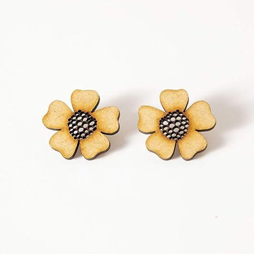 EYA ERO. Pendientes flor de madera y plata. Pendientes originales. Hecho en España.: Amazon.es: Handmade