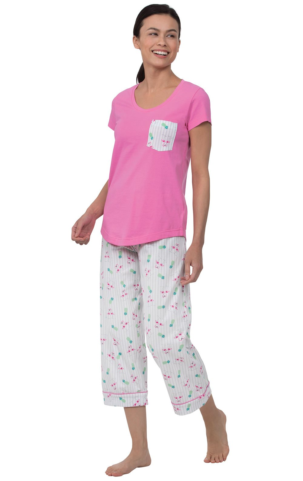 PajamaGram Womens Capri Pajama Set Short Sleeve Pajamas, Pink, Small 4-6