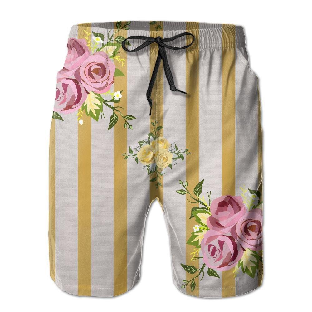 TO-JP Men's 3D Printing Beach Shorts Wedding-Decorative Pattern- Striation Swim Trunks