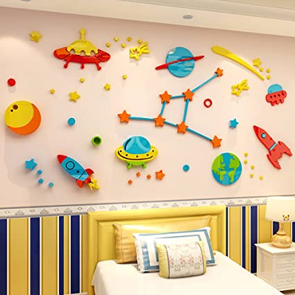 Misslight 3D Kid Room Wall Sticker Outer Space Crystal Acrylic Cartoon  Universe Wall Murals Star Wall