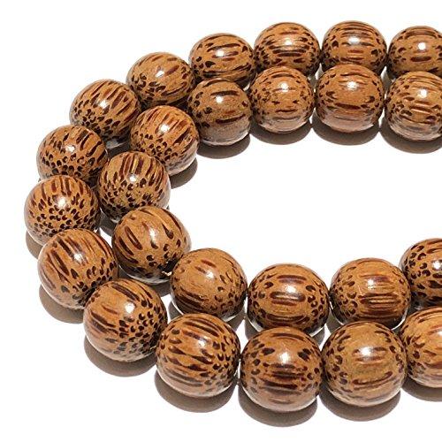 ut PalmWood Hardwood (Exquisite Wood Grain) 10-11mm Smooth Round Beads for Jewelry Making ()