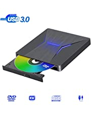 Masterizzatore CD DVD Esterno USB 3.0 Type-C Super Velocità Dual Port Lettore Dvd Esterno Portatile CD/DVD±RW Compatibile with Windows 10/8.1/8/7 Linux PC/Laptop/MacBook