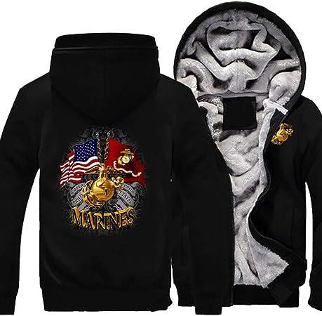 メンズフーディーフルジッパープリント海兵隊ロゴベルベットパッド入りフード付きセーターコートフリースフーディー、冬に適しています