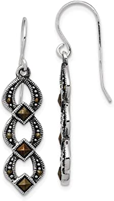 Sterling Silver Marcasite Earrings|Turkish Jewelry|Turkish Earrings for Women|Cocktail Long Dress Earrings Emerald Marcasite Drop Earrings