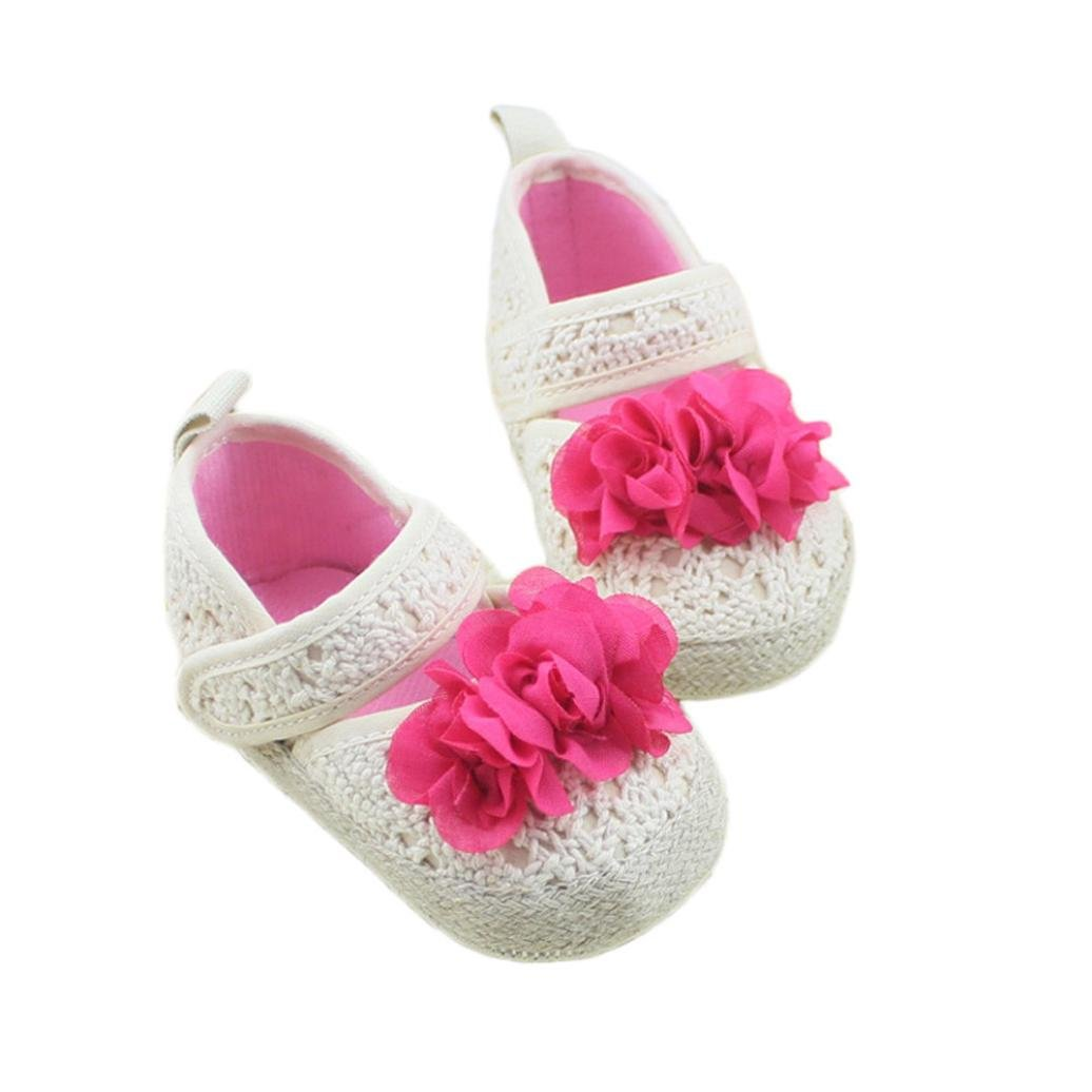 Gotd Baby Infant Toddler Girls Soft Sole Crib Shoes Cute Flower White