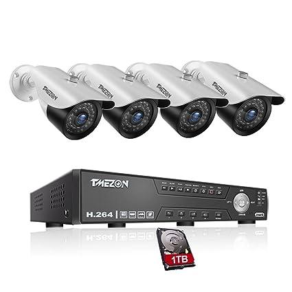 TMEZON 4CH CCTV Security Camera System HD 720P Outdoor Video Surveillance DVR