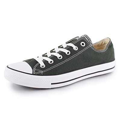 8f765c9adfab Converse Chuck Taylor All Star Ox 142381F Womens Laced Canvas Trainers Dark  Green White - 3  Amazon.co.uk  Shoes   Bags