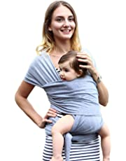 Baby Wrap Carrier, Breathable Soft Natural Cotton Baby Wrap, Nursing Cover, Stretchy Baby Slings for Infants Newborn Kids and Toddlers (Heather Gray)