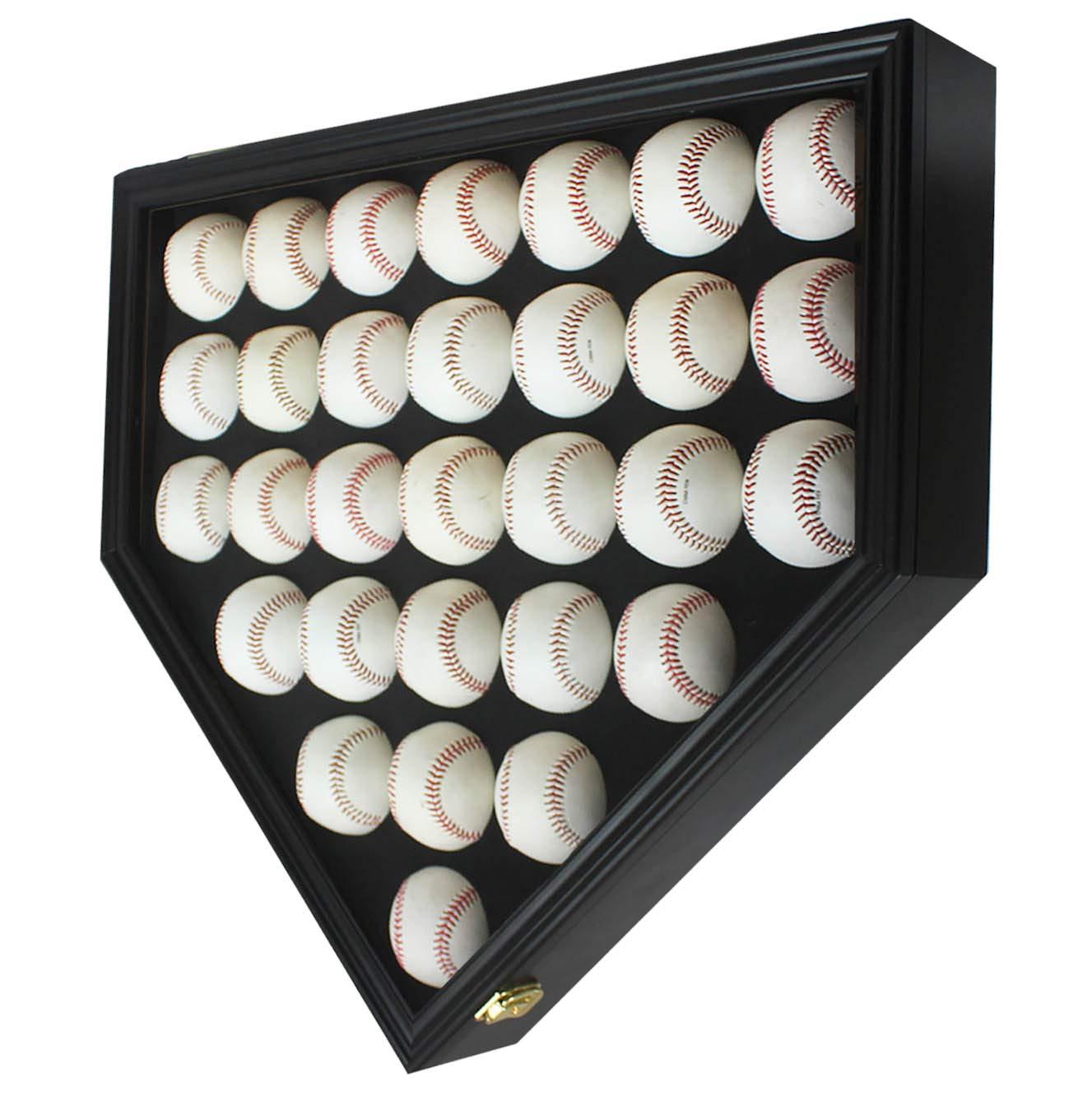 30 Baseball Display Case Wall Cabinet Shadow Box, UV Protection Door, B230(UV) (Black Finish) by DisplayGifts