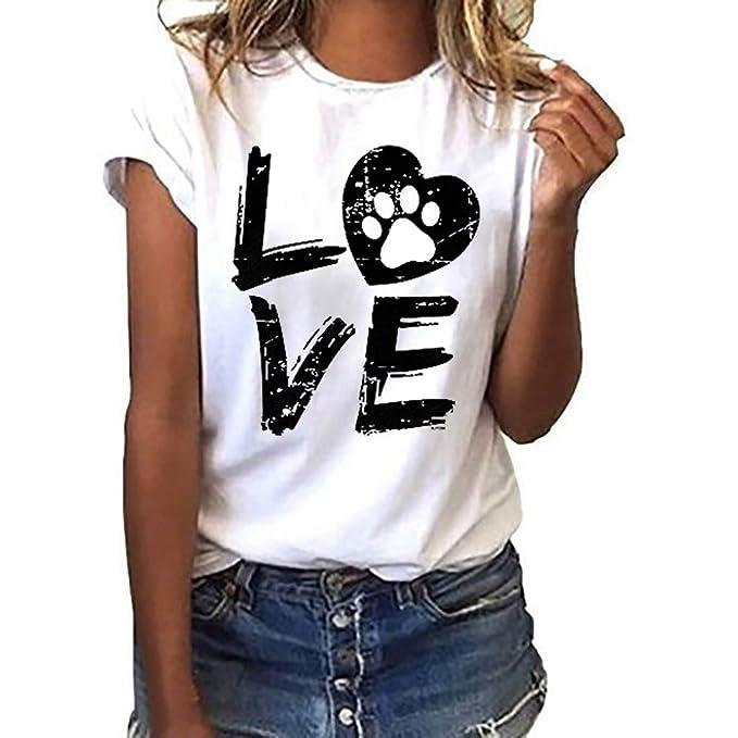 Amlaiworld Camisetas Mujer Verano Moda Camiseta Suelta de Manga Corta para Mujer Camisas con Letra de Amor y Cuello Informal Blusa Señoras Tallas Grandes S- XXXL
