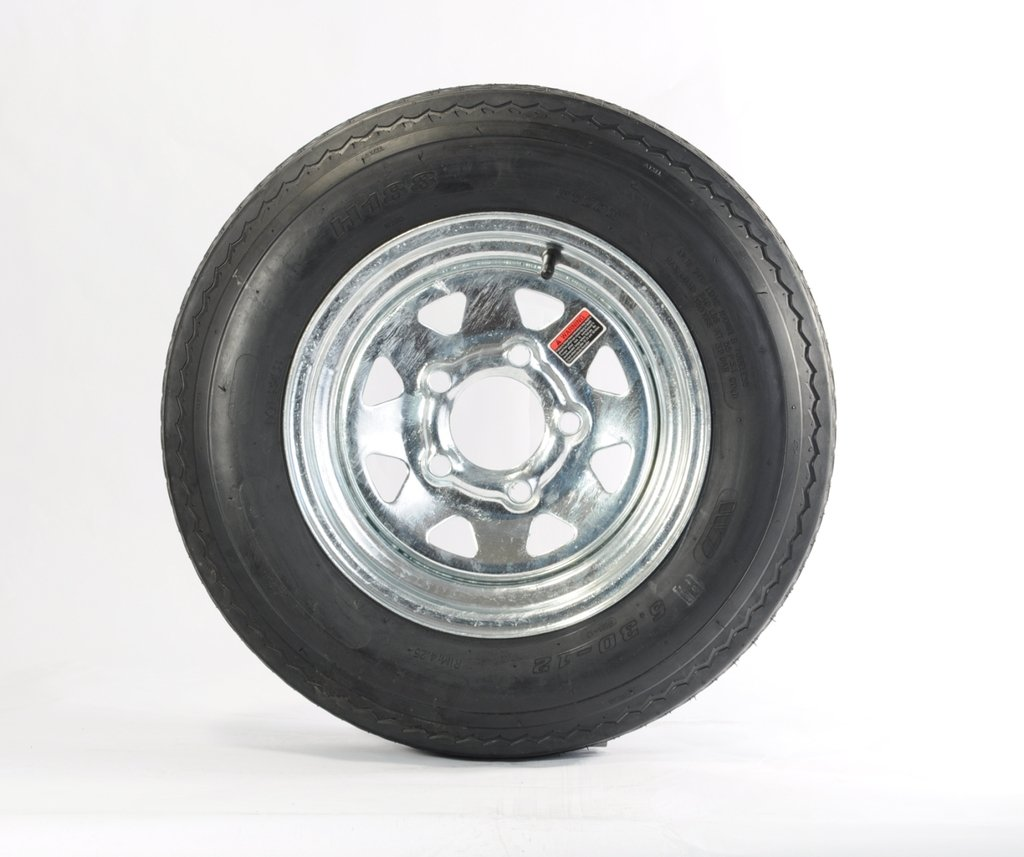 2-Pk eCustomrim Trailer Tire Rim 5.30-12 12'' Load C 5 Lug Galvanized Spoke 39354
