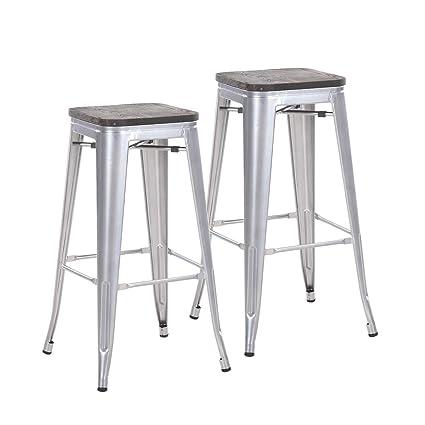 Amazoncom Buschman Set Of 2 Gray Wooden Seat 30 Inch Bar Height
